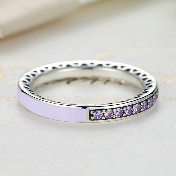 Silver Sterling Sparkling Purple Radiant Hearts of Stack able Ring