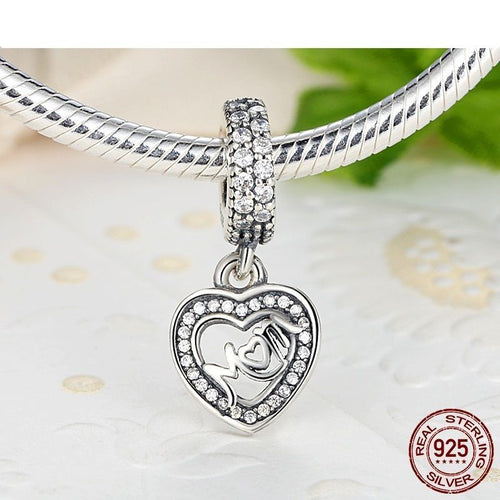 Silver Sterling Centre Of My Heart Mother's Day Pendant Charm