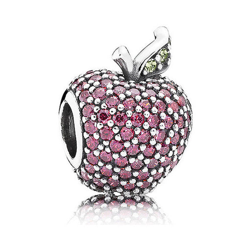 925 Sterling Silver Pave Red Apple Pendant Charm pandora fit