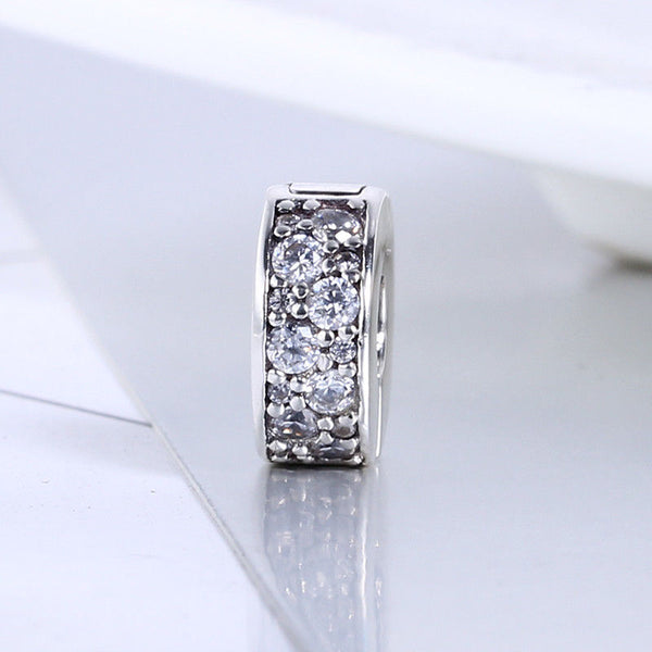 Elegance CZ Pave Stone slim Spacer  Clip on Charm