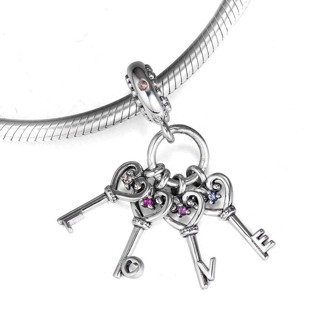 925 Sterling Silver KEYS OF LOVE Dangle Pendant Charm