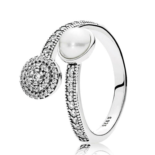 925 silver Luxury Sparkling luminous Glow White Pearl Sizable Ring