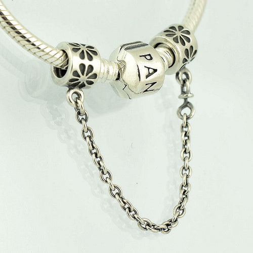 Silver Sterling Floral daisy flower safety chain fits pandora