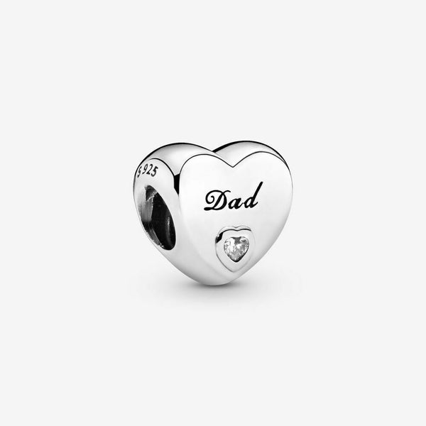Sterling Silver Dad Love Heart Charm