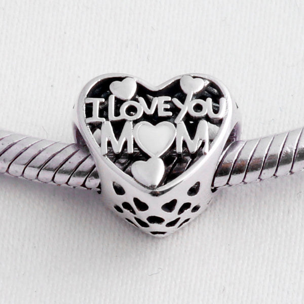 pandora style i love you mom heart charm