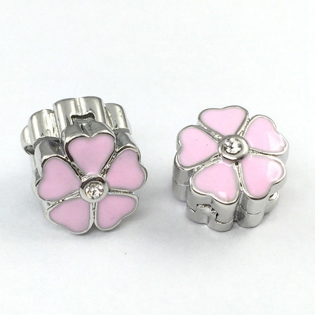 Silver Plated pink Primrose Cherry Blossom Clip Stopper Bead
