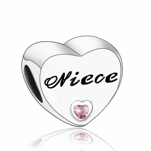 Sterling Silver Niece Love Heart Charm