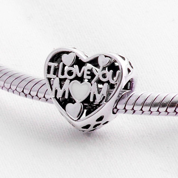 Silver Sterling I love you mom mum heart Charm Mother's Day Special