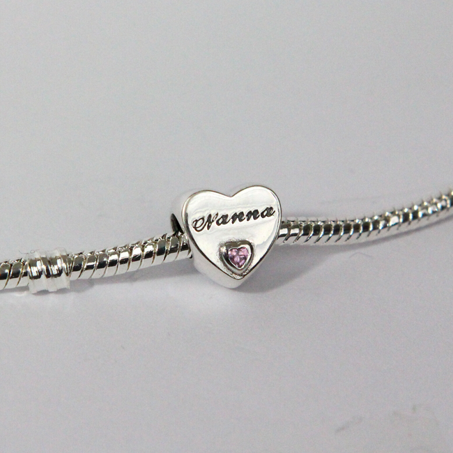 Sterling Silver Nanna Love Heart Charm
