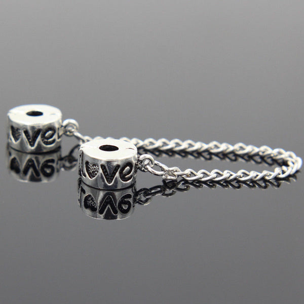 Silver Plated Love clip on safety chain