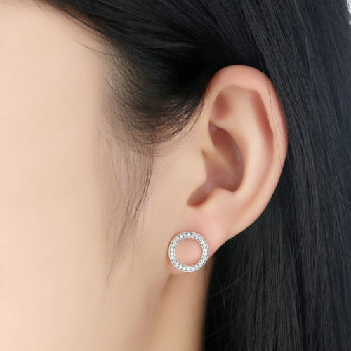 Silver Sterling Dazzling FOREVER ROUND Earrings