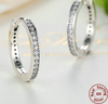 Silver Sterling ROUND HOOP Sparkling Earrings pandora style