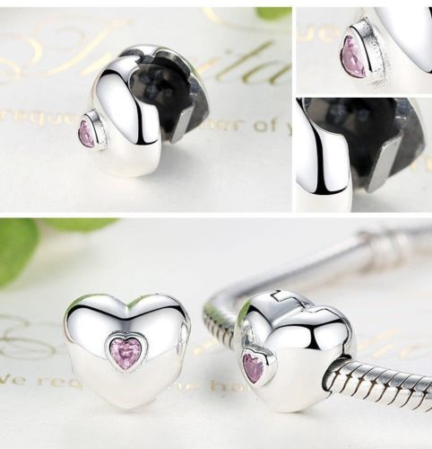 pandora clips Love pink Heart Lock Clip Stopper Charm