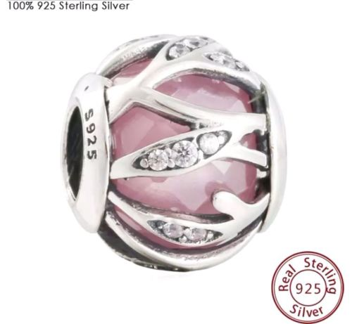 Pink Intertwining Natures Radiance stone Charm for pandora bracelets