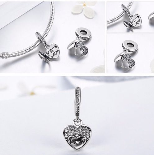 Silver Sterling I love my mom mum open heart charm