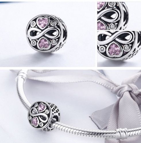 pandora 925 Silver Pink Stone Heart BEST FRIENDS CHARM
