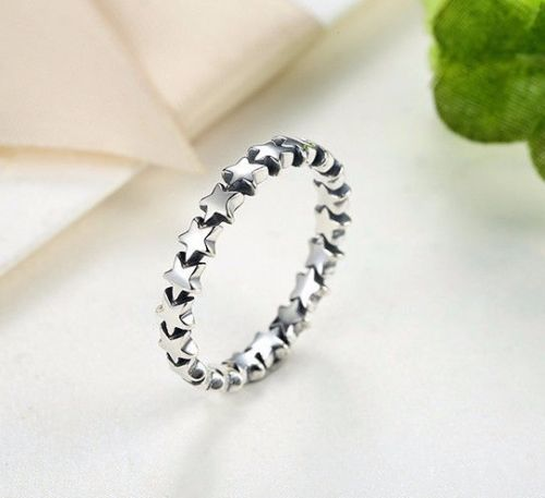 silver sterling Star Trail Stackable Delicate European Ring  pandora style