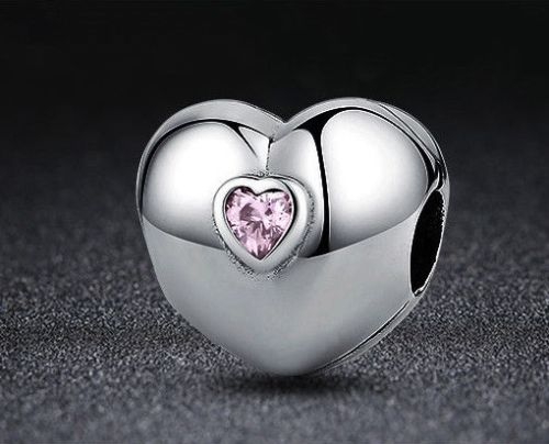 Love pink Heart Lock Clip Stopper Charm