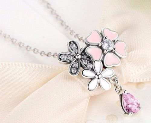 silver sterling poetic blooms pink floral necklace with chain