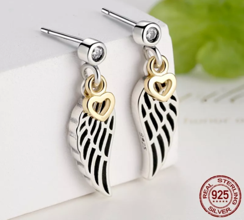 925 SILVER LOVE & GUIDANCE FEATHER LUCKY WING EARRINGS STUDS