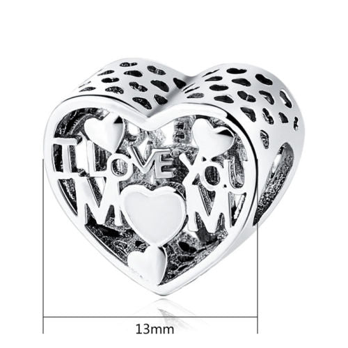 I Love You mom mother day love heart Charm