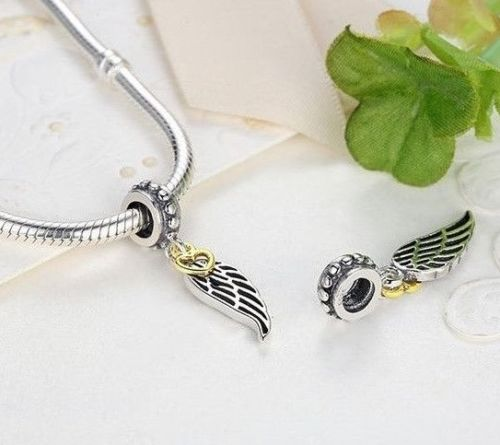 silver sterling love guidance angel Feather Wing charm