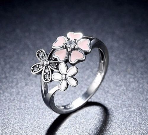 Silver Sterling Poetic Bloom Pink Triple 3 Daisy cz  Ring