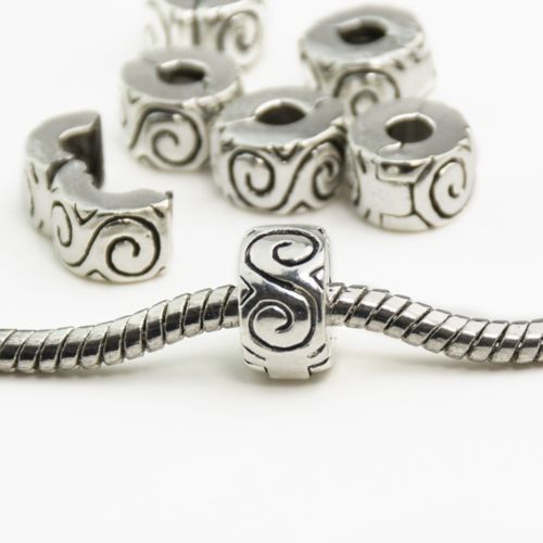 Silver Plated S Design Clip Stopper bead Charm for pandora bracelet