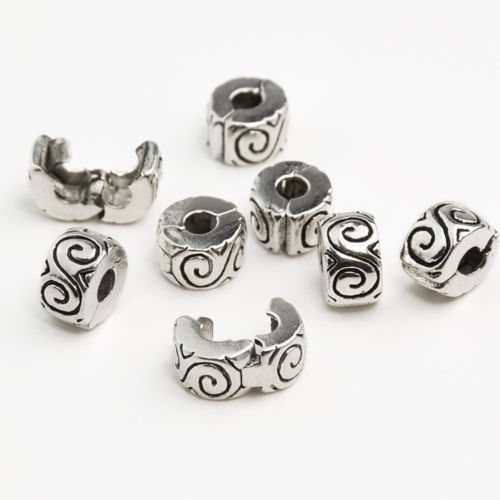 Silver Plated S Design Clip Stopper bead Charm