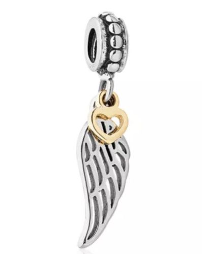 angel feather wing lucky charm for pandora bracelets