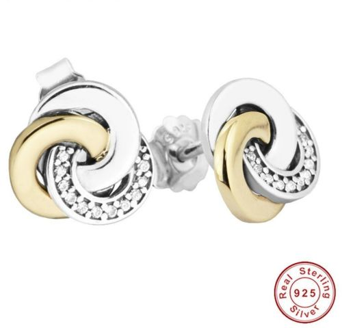 Silver Sterling two tone interlinked circles earrings pandora style