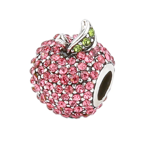 Pave Red Apple Stone Charm pandora style super sterling