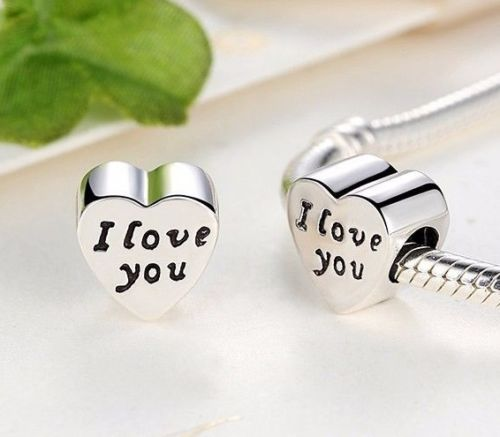 Silver Sterling Words of Love I love you heart Charm