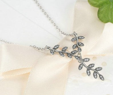 Dazzling Shimmering Leaves Necklace With Chain pandora style