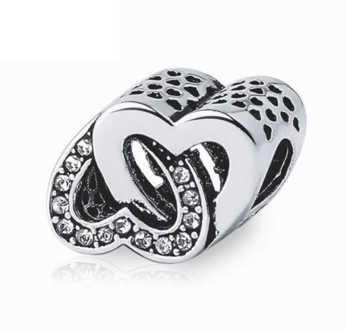 pandora style entwined love heart charm