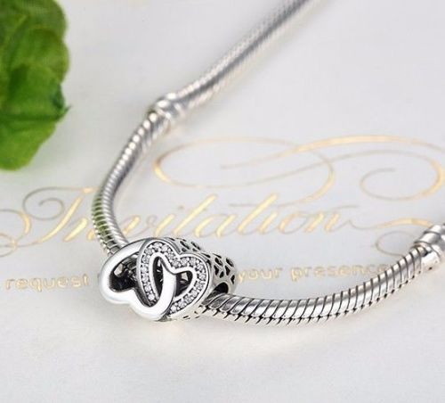 Entwined love twin heart Charm