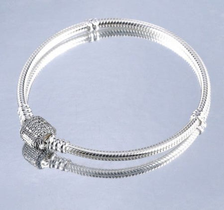 925 Silver Moments Starter Bangle Bracelet Pave Star Clasp