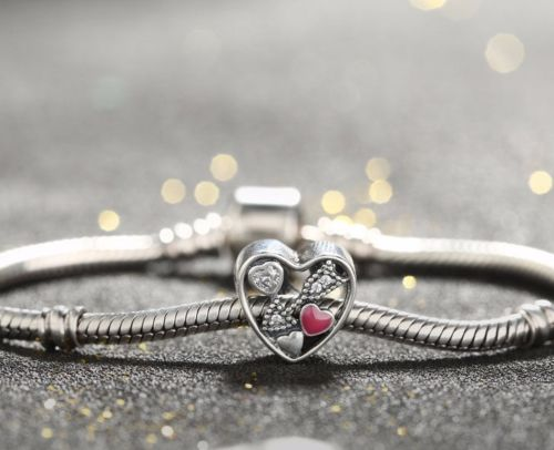 STRUCK BY LOVE PINK HEART CHARM