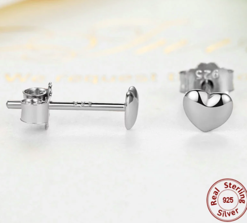 Silver Sterling Plain Petite Love Heart Studs