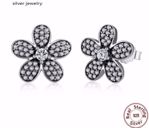 Silver Sterling Dazzling Sparkling Daisy Flower Earrings pandora style