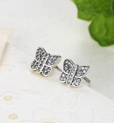 pandora style Silver Sterling Sparkling Dazzling Butterfly Earrings