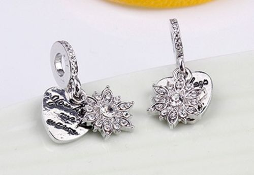 snowflake love heart you keep me warm Charm for pandora