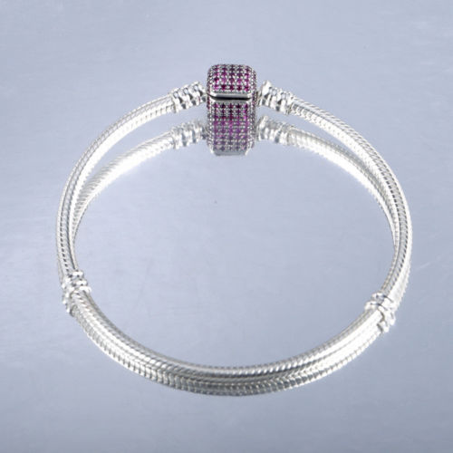 Silver Starter Moments Bracelet Red Pave Barrel Clasp
