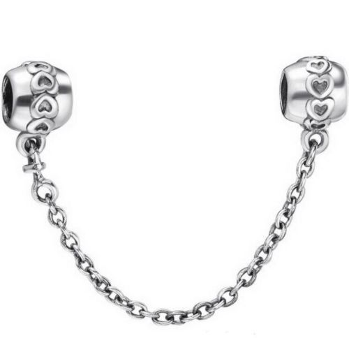 Silver Plated love pattern safety chain