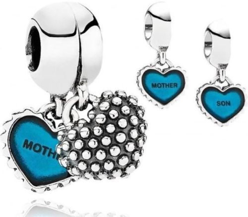 Mother and Daughter Duo Twin Heart love Dangle Pendant/Charm pandora style cheap