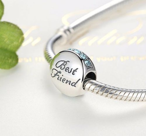 BEST FRIENDS BFF Round Blue Stone Charm pandora style compatible
