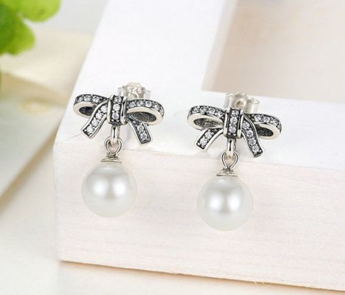 pandora style Delicate Sentiments Bow knot Pearl earrings