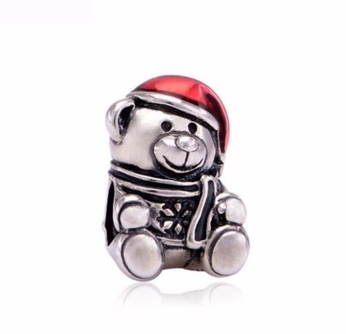 Red hat Santa Teddy Bear father Christmas xmas Charm
