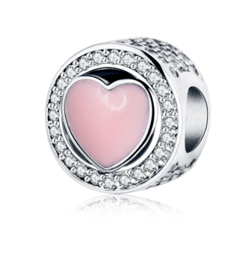 Silver Sterling PINK WONDERFUL LOVE CHARM for pandora