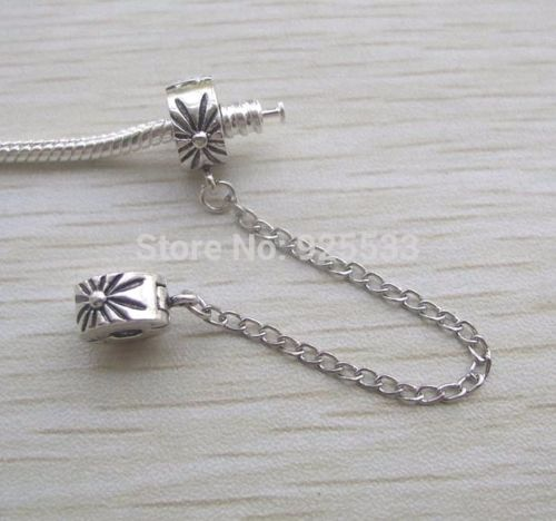 Silver Plated daisy clip on safety chain